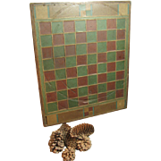Stunning All Original Old Antique Hand Made Slate Tiled and Wood Folk Art Game Board