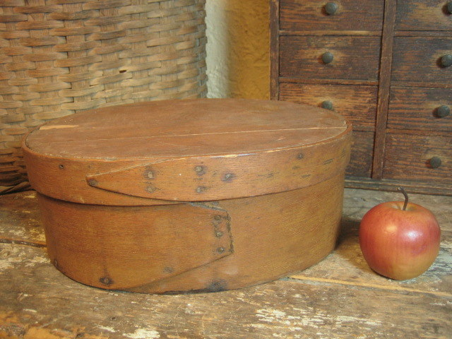 Great Grandma's Favorite Early Old Primitive Antique Farmhouse Kitchen Wooden Large Oval Pantry Box