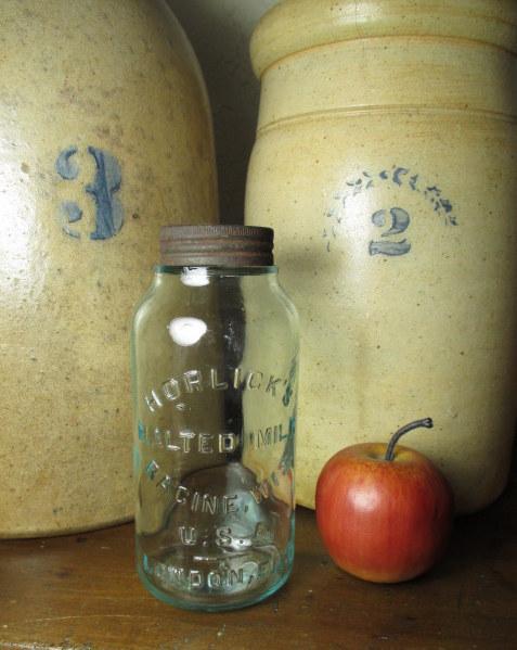 Beautiful Old HORLICK'S Malted Milk Embossed Glass Jar - Advertising