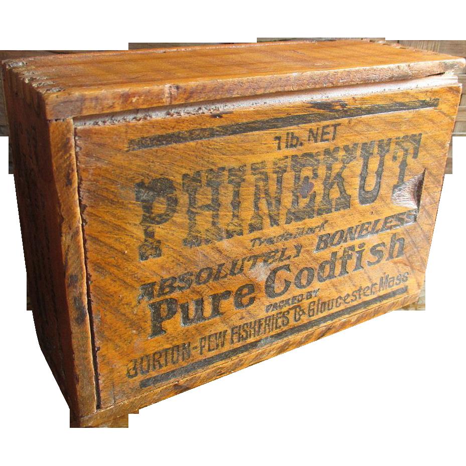 Old Vintage PHINEKUT Codfish Wooden Box w. Sliding Lid - Advertising