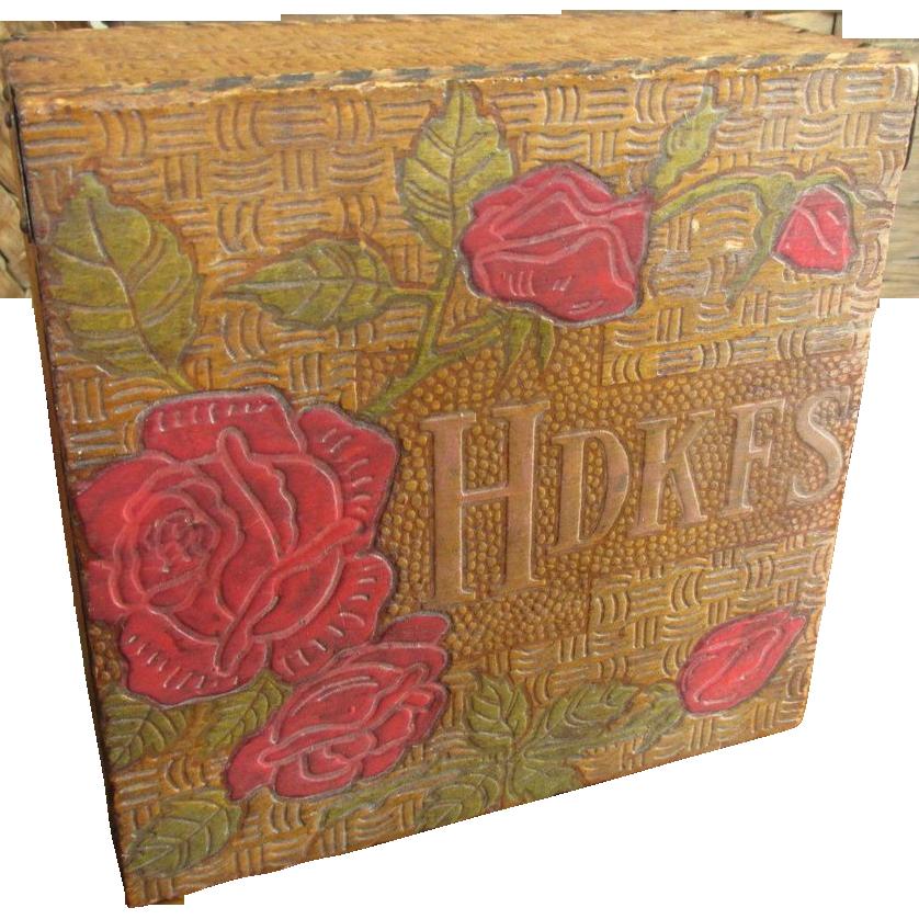 Old Vintage Wood Burned Pyrography Hankie Handkerchief Box - Hinged Lid
