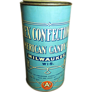 Awesome Old REX Confections American Candy Co. Advertising Tin - Marked 1906