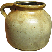 Early Old Primitive Farmhouse Kitchen Squatty Salt Glaze Stoneware Jug