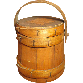 Granny's Little Old Vintage Wooden Firkin with Maple Leaf Stencil - Square Pegs