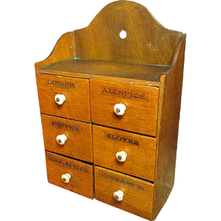 Grandma's Sweet Old Antique Six Drawer 'Pure Food' Spice Chest Cabinet - 1800's - Golden Oak