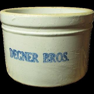 Old Vintage Small Sized Butter Crock - DEGNER BROS. - Advertising