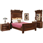 Eastlake Antique Queen Bedroom Set, Chest with Mirror and Nightstand, Marble Top
