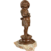 Bronze 1890's Antique Sculpture of a Young Girl, Marble Base