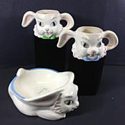 1950's Ceramic Bunny Rabbit Baby Dish & Cups