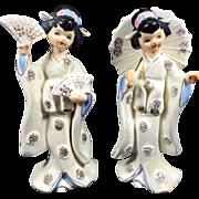 Pair Oriental Geisha Girl Figurines w Huge Umbrella & Fans