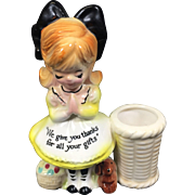 Enesco Ceramic Prayer Lady Toothpick Holder