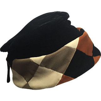 Black & Brown Velvet Gathered Pillbox Style Hat w Checkered Brim