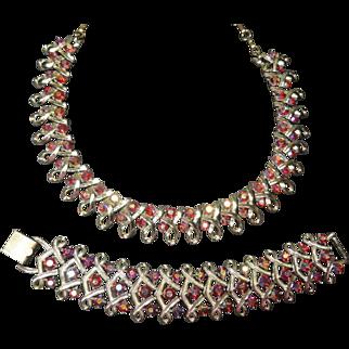 SALE Vintage Coro Hot Pink Rhinestone Necklace & Bracelet Demi Parure