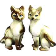 Pair Ceramic Siamese Cat Figurines
