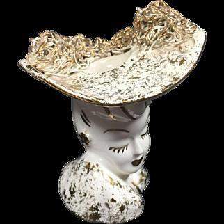 Miniature Glamour Girl Head Vase w Big Hat & Attitude
