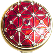 Estee Lauder Crystal and Enamel Collector's Powder Compact ~ Stunning!