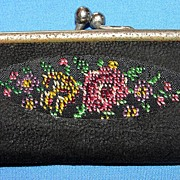 Petite Vintage German Leather cuticle set with needlepoint design