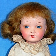 """Small 8"""" Antique German bisque A. Wislizenus doll on Seeley body"""