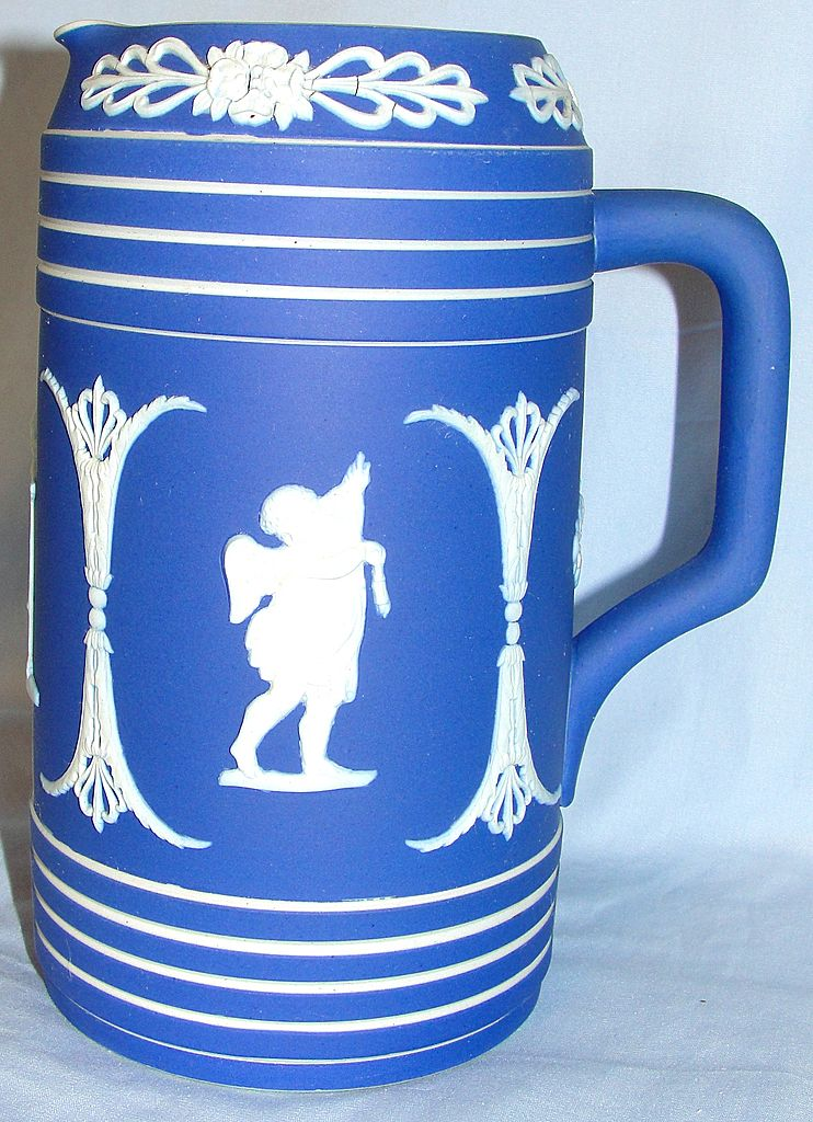 Early Wedgwood dark blue Jasper ware jug / pitcher with cherubs