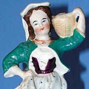 Antique Staffordshire Pottery figurine - Woman Carrying a Basket
