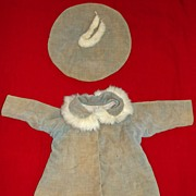 Tagged 1930's Vogue composition Doll Coat & Tam - Shirley Temple style