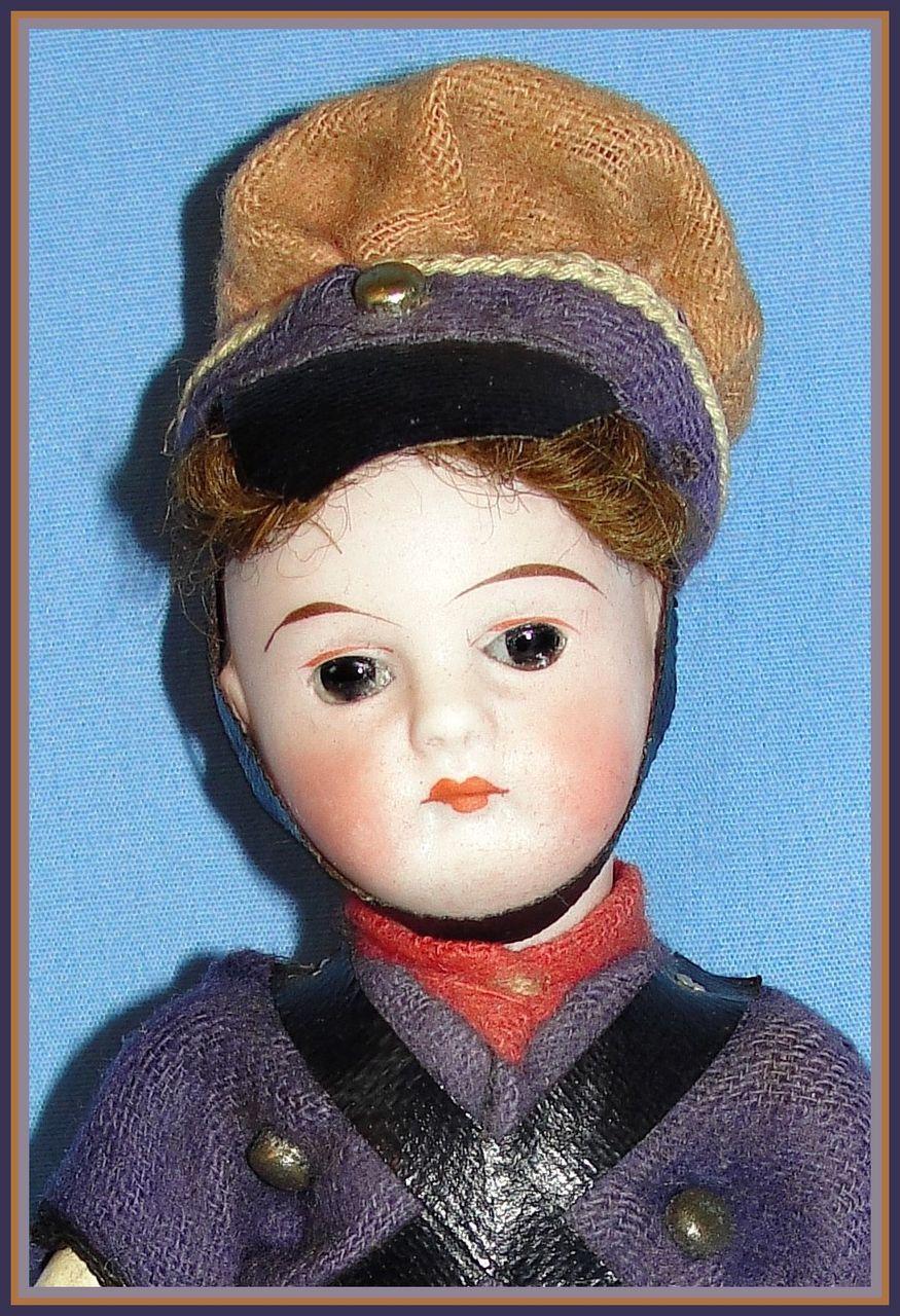 "All Original Antique 6"" German Bisque Doll Dressed as Soldier"