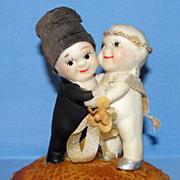 All Bisque Old Kewpie Huggers Bride & Groom Cake Topper