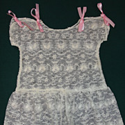 Exquisite Vintage Drop Waist Tambour Net Lace Doll Dress for Antique French Doll