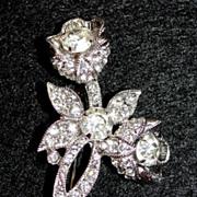 Classy Vintage Eisenberg Rhinestone Flower Brooch / Pin