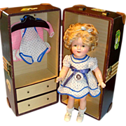 "16"" Shirley Temple Composition Doll w/ Wardrobe & Trunk - All Original!"