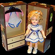 "16"" Shirley Temple Composition Doll w/ Wardrobe & Trunk - All Original!"