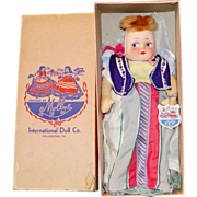 "All Original 13"" Mollye International Series ""Rumania"" Cloth Doll in Original Box!"