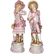 Amazing Extra Large All Bisque Figurine Pair - Courting Couple