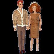 1960's Allan And Midge Dolls with Wardrobe
