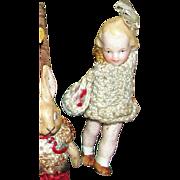 Antique Hertwig All Bisque Goldilocks Miniature Doll