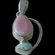 Modernist Sterling Blue and Pink Pendant