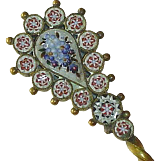 Micro Mosaic, Micromosaic Spoon with Blue Flowers c