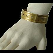 Vintage Gold Plated Buckle Cuff Bangle Bracelet