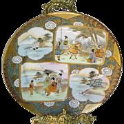 Antique Meiji Period Japanese Moriage Gold Gilt Satsuma Large Plate c1900