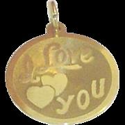Vintage 14K Gold I Love You Charm