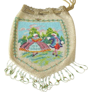 Micro Beaded DrawString Purse Courting Couple Scene c1920