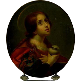Antique Religious Oil Painting Mary Magdalene After Carlo Dolci