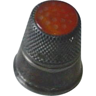 Vintage Silver Thimble with Carnelian Stone Top