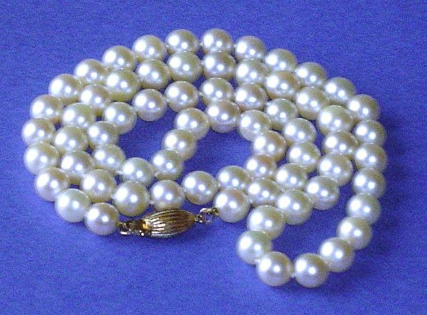 """Vintage 20"""" Strand of 6.5mm - 7.0mm Cultured Pearl Necklace"""