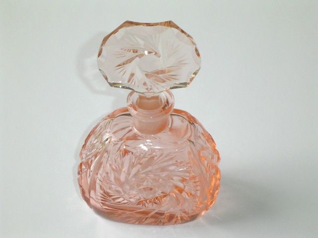 Antique Pink Cut Crystal Perfume Bottle