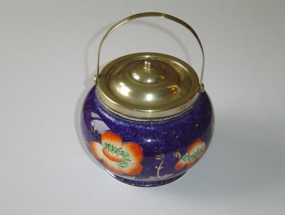 Antique Dark Blue Biscuit Barrel