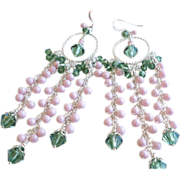 Pink and Green Swarovski Crystal and Swarovski Faux Pearl Long Chandelier Earrings