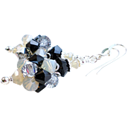 Swarovski Crystal Cluster Ball Earrings In Black and Silver Shades