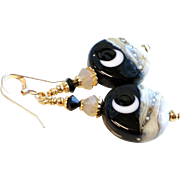 Moon and Night Sky Lampwork Earrings With 14KT Gold Filled Accents