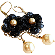 Black Enamel Rose Dangle Earrings With Gold Swarovski Faux Pearls